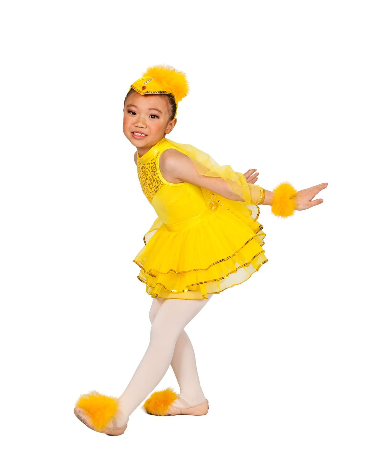 Little girl in yellow costume